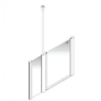 AKW Larenco Alcove Half Height Extended Shower Door 1200mm Wide - Non Handed
