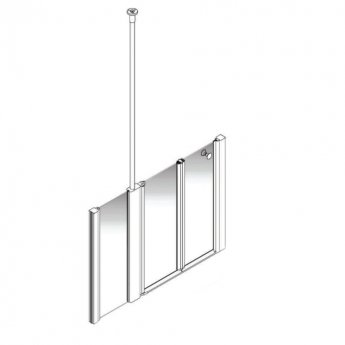 AKW Larenco Alcove Half Height Bi-Fold Extended Shower Door 1400mm Wide - Non Handed