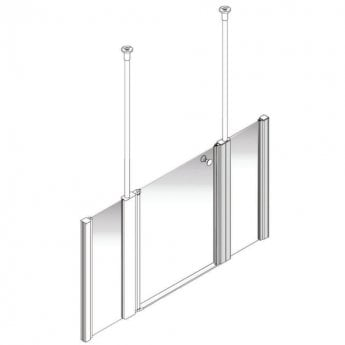 AKW Larenco Alcove Half Height Extended Shower Door 1800mm Wide - Non Handed
