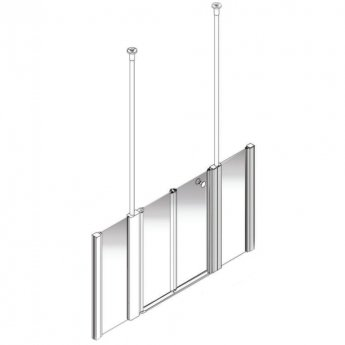 AKW Larenco Alcove Half Height Bi-Fold Extended Shower Door 1700mm Wide - Non Handed