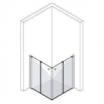 AKW Larenco Duo Care Bi-Fold Shower Door Only, 1200mm Wide, Left Handed