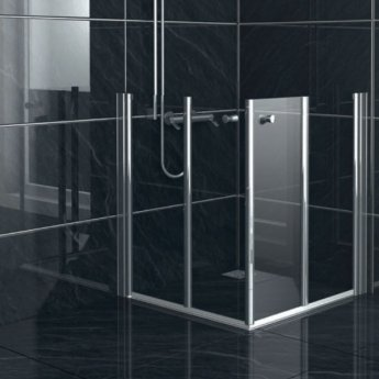 AKW Larenco Duo Care Fixed Panel Bi-Fold Shower Door, 1200mm Wide, Non-Handed