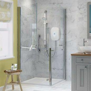 AKW Larenco Corner Entry Full Height Duo Double Hinged Shower Door 900mm x 900mm - 6mm Glass