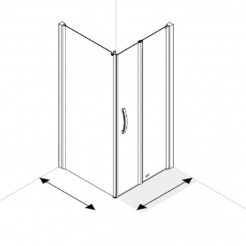 AKW Larenco Corner Full Height Bi-fold Shower Door with Side Panel 1000mm x 800mm