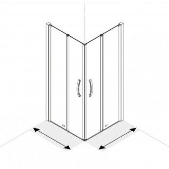 AKW Larenco Corner Entry Full Height Double Bi-fold Shower Door 760mm x 760mm - 6mm Glass