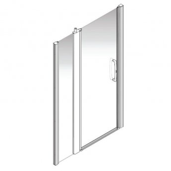 AKW Larenco Alcove Full Height Extended Shower Door 1400mm Wide - Non Handed