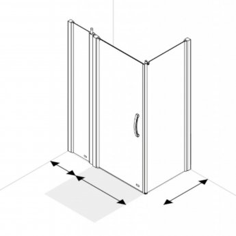 AKW Larenco Corner Full Height Hinged Shower Door with Side Panel 1200mm x 800mm