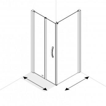 AKW Larenco Corner Full Height Bi-fold Shower Door with Side Panel 1000mm x 700mm