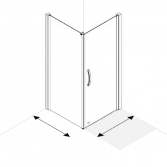 AKW Larenco Corner Full Height Hinged Shower Door with Side Panel 1000mm x 1000mm