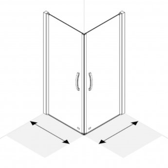 AKW Larenco Corner Full Height Hinged Shower Door Only 1000mm x 800mm Left Handed