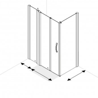 AKW Larenco Corner Full Height Bi-fold Shower Door with Side Panel 1300mm x 820mm