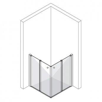 AKW Larenco Corner Care Double Bi-fold Corner Entry Shower Enclosure 800mm x 800mm