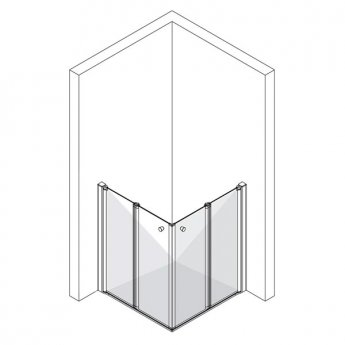 AKW Larenco Corner Care Double Bi-fold Corner Entry Shower Enclosure 900mm x 900mm