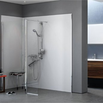 AKW Level Best Wetroom Screen 800mm W with 350mm Deflector Panel