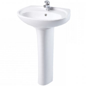 AKW Livenza 500mm Basin & Full Pedestal - 1 Tap Hole