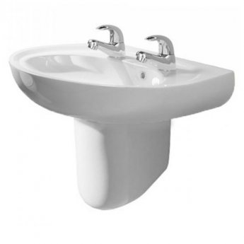 AKW Livenza 450mm Basin and Semi Pedestal - 2 Tap Hole
