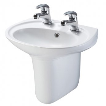 AKW Livenza 500mm Basin and Semi Pedestal - 2 Tap Hole