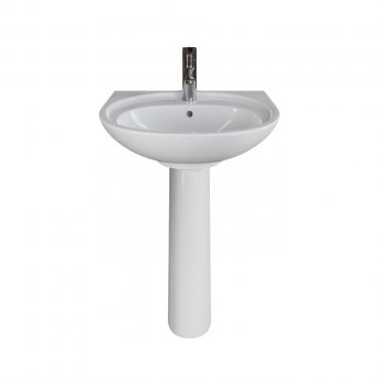 AKW Livenza Plus Basin with Full Pedestal 500mm Wide - 1 Tap Hole