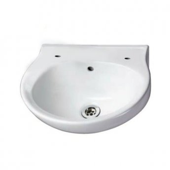 AKW Finger Rinse Cloakroom Basin, 400mm Wide, 2 Tap Hole