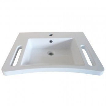 AKW Onyx Ergonomic Wall Hung Basin with Hand Grip Support 600mm Wide - 1 Tap Hole