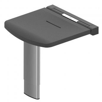 AKW Onyx Fold Up Shower Seat with Adjustable Leg - Black