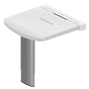 AKW Onyx Fold Up Shower Seat with Adjustable Leg - White