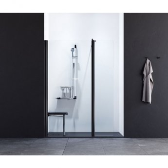 AKW Onyx Level Best Wet Room Screen 900mm W with 400mm Deflector Panel - 6mm Glass