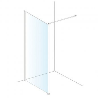 AKW Onyx Black Level Best Wet Room Glass Panel 800mm Wide - 6mm Glass