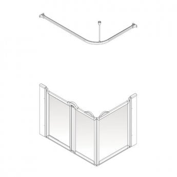 AKW Option A 750 Shower Screen, 1200mm x 760mm, Left Handed