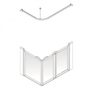 AKW Option A 900 Shower Screen, 1200mm x 700mm, Right Handed