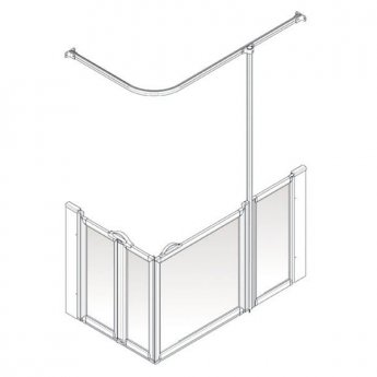 AKW Option B 750 Shower Screen, 1200mm x 760mm, Right Handed