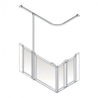AKW Option B 750 Shower Screen 1300mm x 700mm - Left Handed