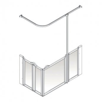 AKW Option B 750 Shower Screen 1300mm x 700mm - Right Handed