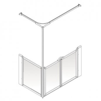 AKW Option C 900 Shower Screen, 1350mm x 750mm, Right Handed