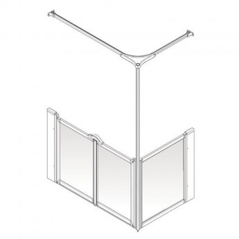 AKW Option C 750 Shower Screen, 1200mm x 820mm, Right Handed