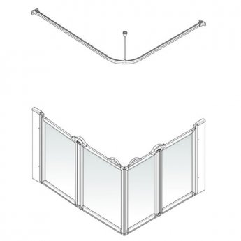 AKW Option E 900 Shower Screen, 820mm x 1200mm, Left Handed