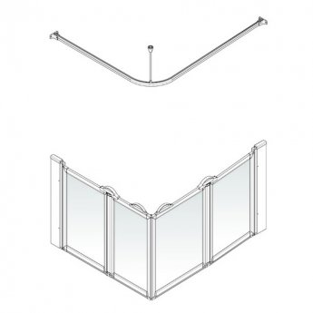 AKW Option E 900 Shower Screen 1000mm x 800mm - Right Handed