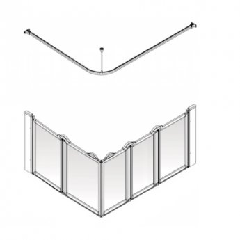 AKW Option E5 750 Shower Screen 1300mm x 820mm - Right Handed