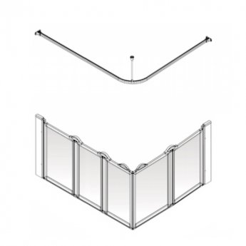 AKW Option E5 750 Shower Screen 1400mm x 900mm - Left Handed