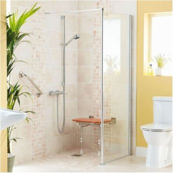 AKW Level Best Option GA Wet Room Glass Panel 700mm Wide - 6mm Glass