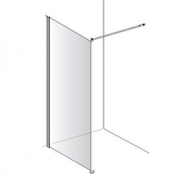 AKW Level Best Option GA Wet Room Glass Panel, 1000mm Wide, 6mm Glass