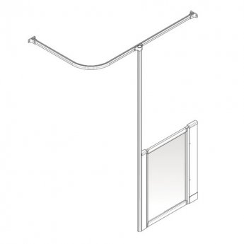 AKW Option H 750 Shower Screen 900mm Wide - Left Handed