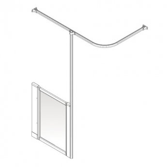 AKW Option H 900 Shower Screen 650mm Wide - Right Handed