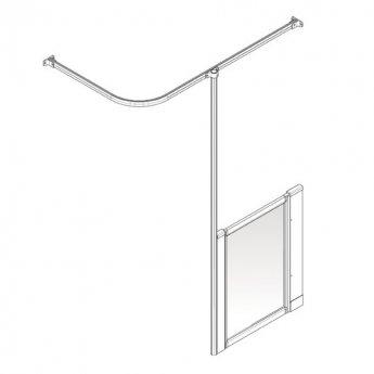 AKW Option H 900 Shower Screen 750mm Wide - Left Handed