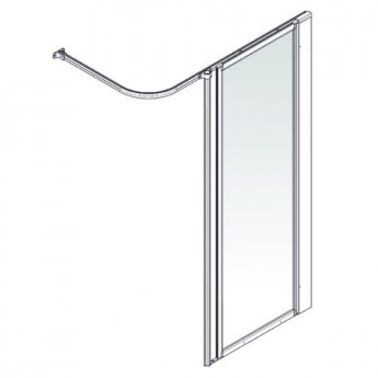 AKW Option HF Shower Screen, 600mm Wide, Non-Handed