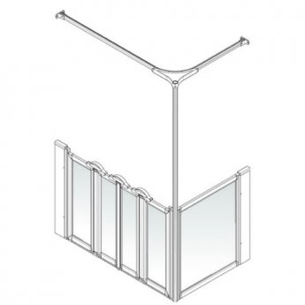 AKW Option K 900 Shower Screen, 750mm x 1470mm, Left Handed