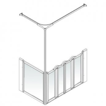 AKW Option K 900 Shower Screen, 760mm x 1200mm, Right Handed