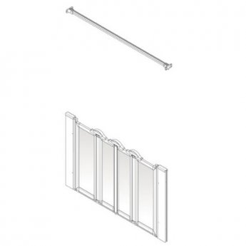 AKW Option N 750 Shower Screen, 1250mm Wide, Non-Handed