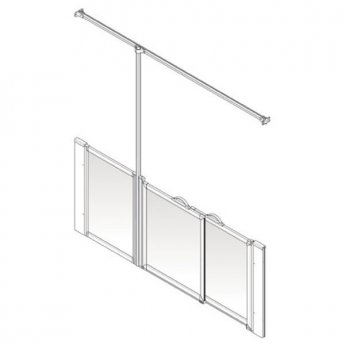 AKW Option P 750 Shower Screen, 1850mm Wide, Left Handed