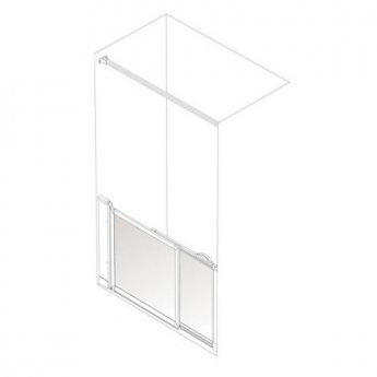 AKW Option SM Sliding Shower Screen, 1200-1300mm Wide, Left Handed